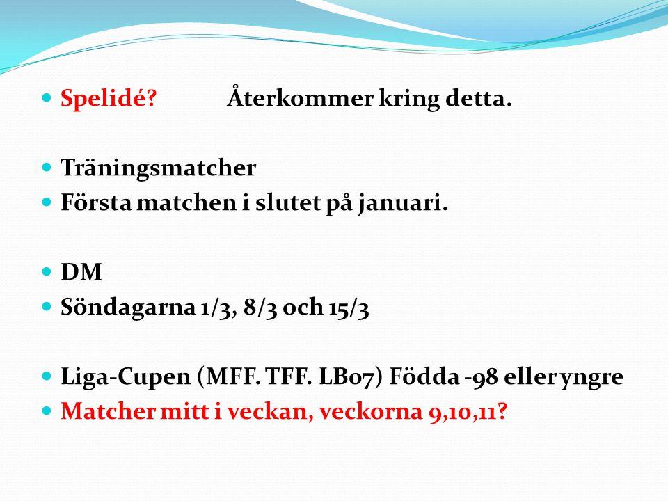 Spelidé? Återkommer kring detta. Träningsmatcher Första matchen i slutet på januari. DM Söndagarna 1/3, 8/3 och 15/3 Liga-Cupen (MFF. TFF. LB07) Födda