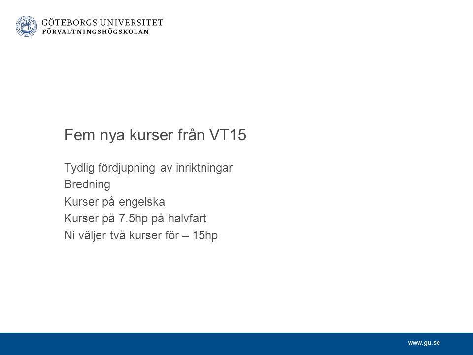 www.gu.se Fem nya kurser från VT15 Tydlig fördjupning av inriktningar Bredning Kurser på engelska Kurser på 7.5hp på halvfart Ni väljer två kurser för – 15hp