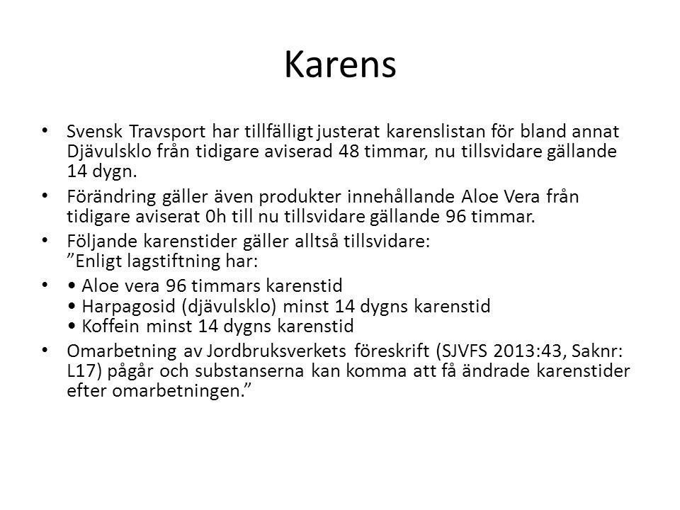 Karens Svensk Travsport har tillfälligt justerat karenslistan för bland annat Djävulsklo från tidigare aviserad 48 timmar, nu tillsvidare gällande 14