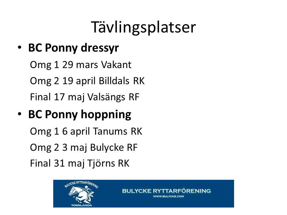 BC Ponny dressyr Omg 1 29 mars Vakant Omg 2 19 april Billdals RK Final 17 maj Valsängs RF BC Ponny hoppning Omg 1 6 april Tanums RK Omg 2 3 maj Bulyck