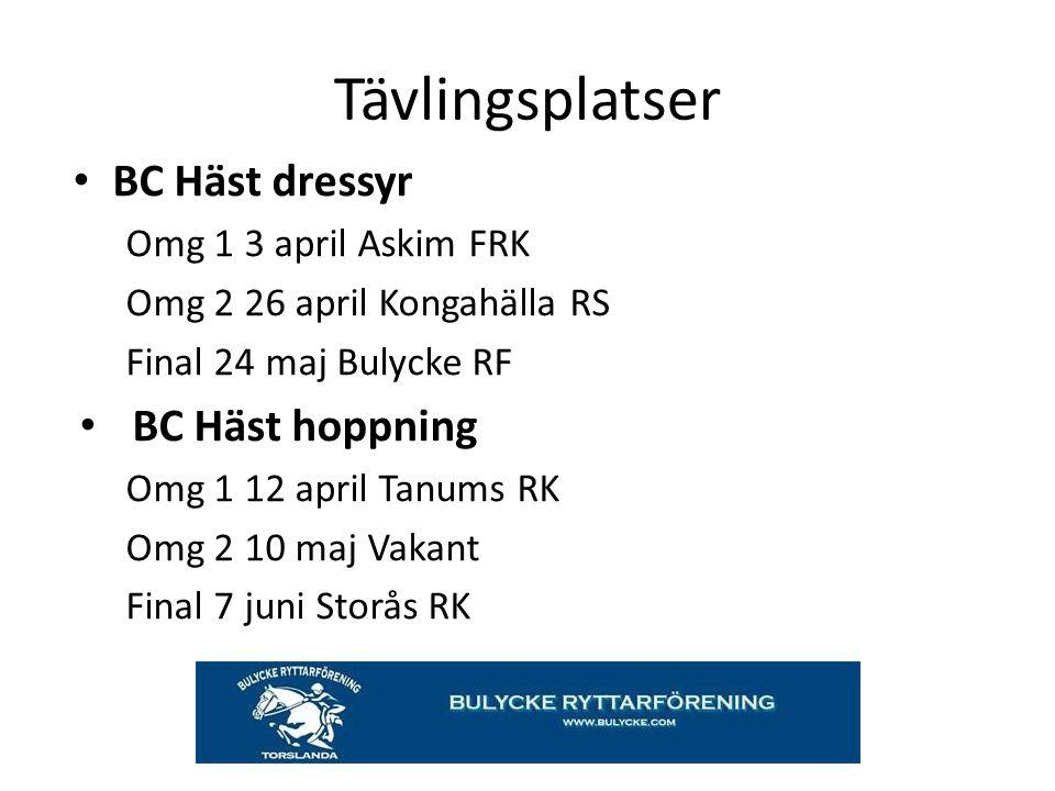 Tävlingsplatser BC Häst dressyr Omg 1 3 april Askim FRK Omg 2 26 april Kongahälla RS Final 24 maj Bulycke RF BC Häst hoppning Omg 1 12 april Tanums RK