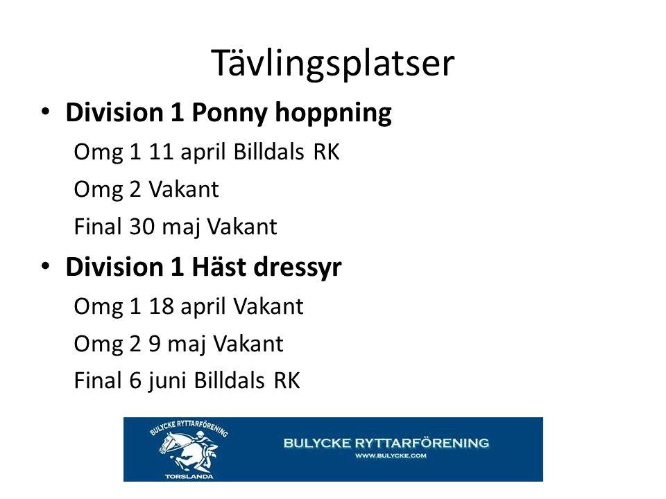 Tävlingsplatser Division 1 Ponny hoppning Omg 1 11 april Billdals RK Omg 2 Vakant Final 30 maj Vakant Division 1 Häst dressyr Omg 1 18 april Vakant Om