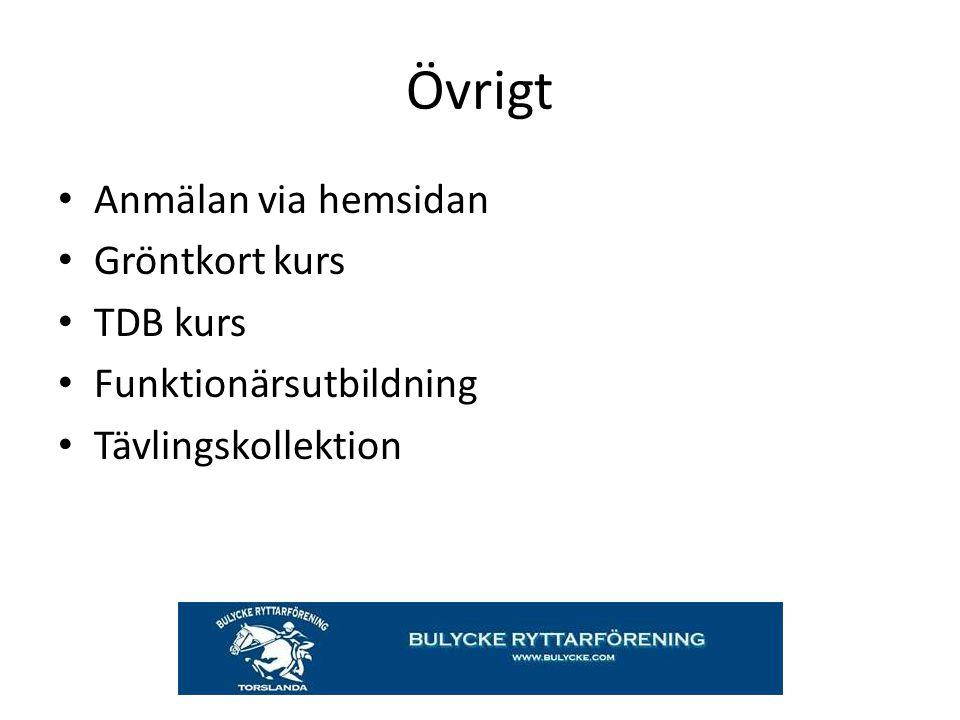 Övrigt Anmälan via hemsidan Gröntkort kurs TDB kurs Funktionärsutbildning Tävlingskollektion