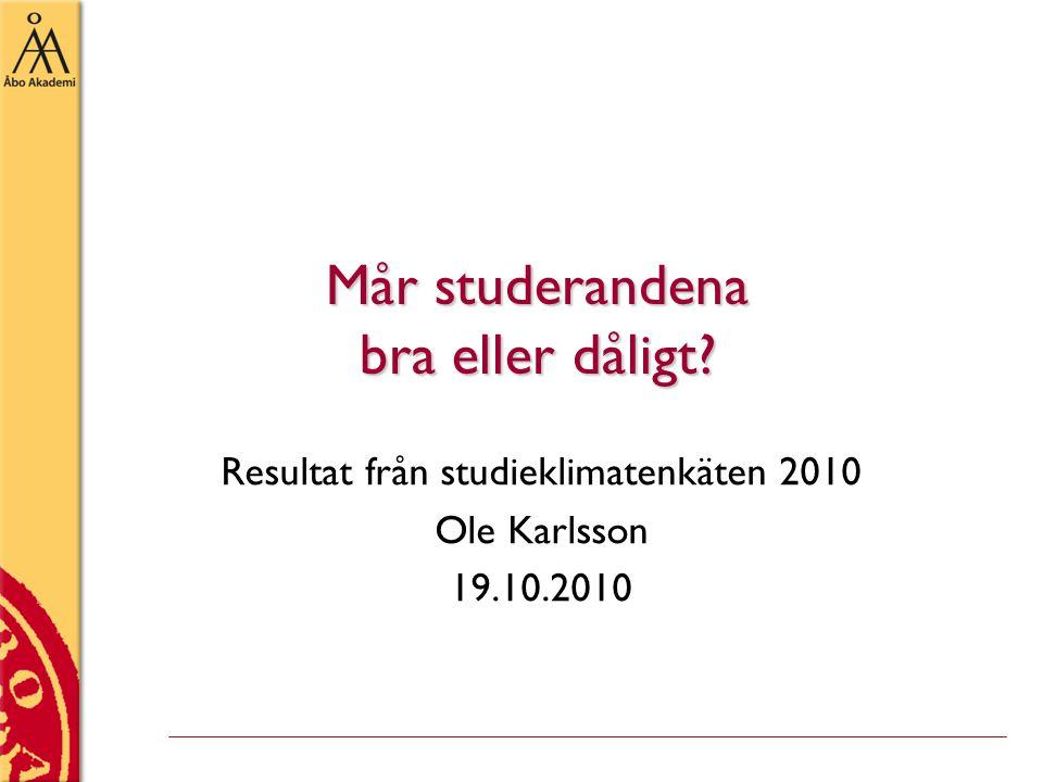 Mår studerandena bra eller dåligt Resultat från studieklimatenkäten 2010 Ole Karlsson 19.10.2010