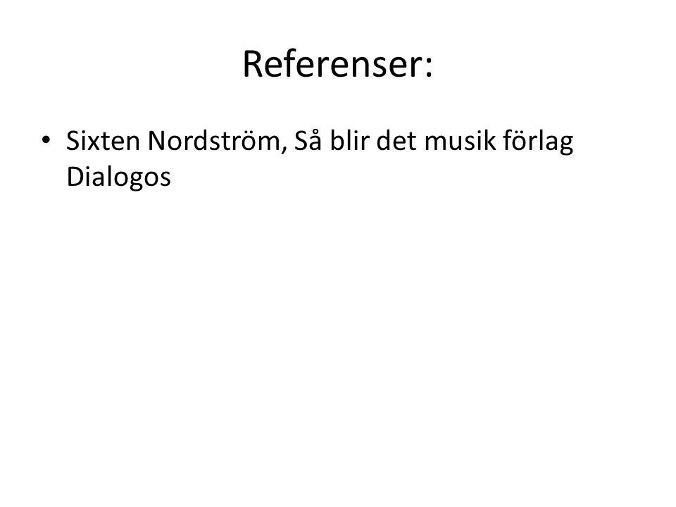 Referenser: Sixten Nordström, Så blir det musik förlag Dialogos