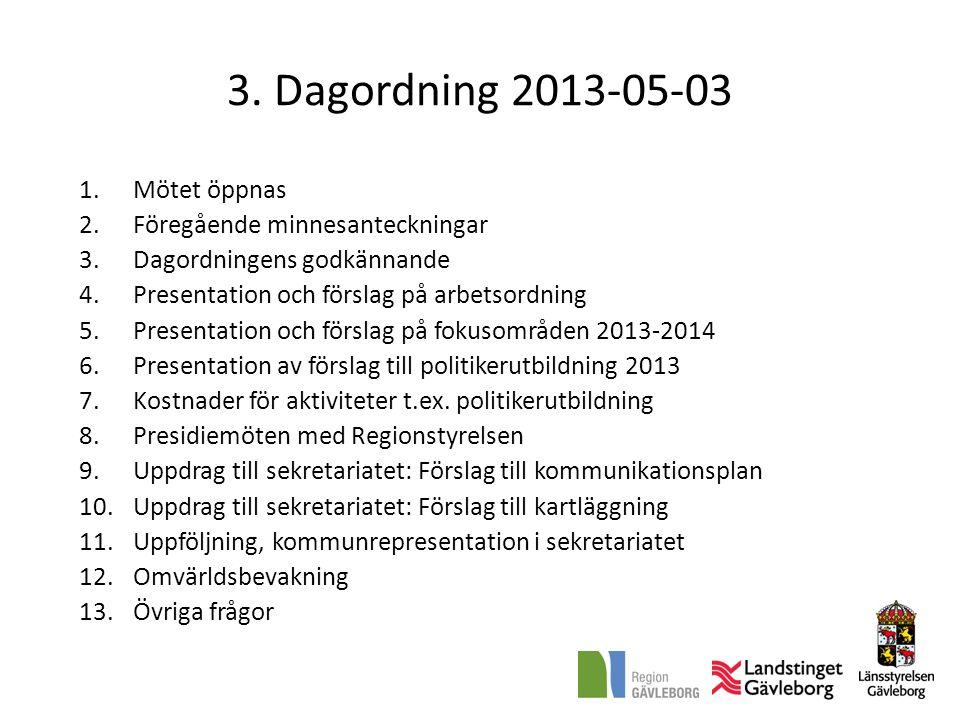 3. Dagordning 2013-05-03 1.Mötet öppnas 2.Föregående minnesanteckningar 3.Dagordningens godkännande 4.Presentation och förslag på arbetsordning 5.Pres