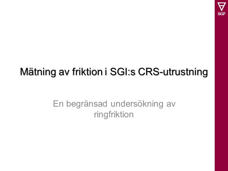 Mätning av friktion i SGI:s CRS-utrustning En begränsad undersökning av ringfriktion