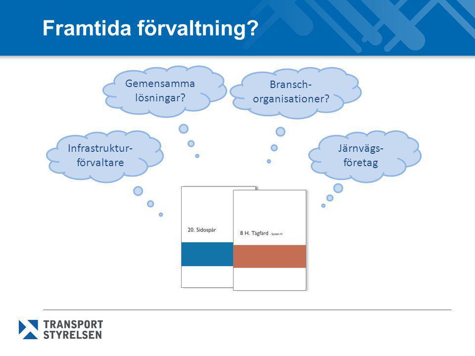 Framtida förvaltning? Järnvägs- företag Infrastruktur- förvaltare Bransch- organisationer? Gemensamma lösningar?