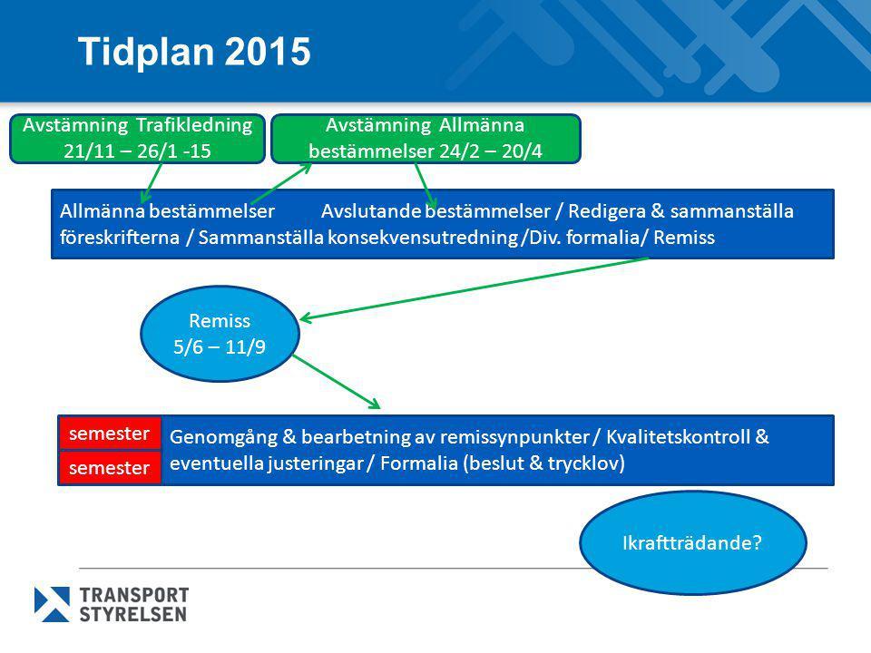 Tidplan 2015 Allmänna bestämmelserAvslutande bestämmelser / Redigera & sammanställa föreskrifterna / Sammanställa konsekvensutredning /Div. formalia/