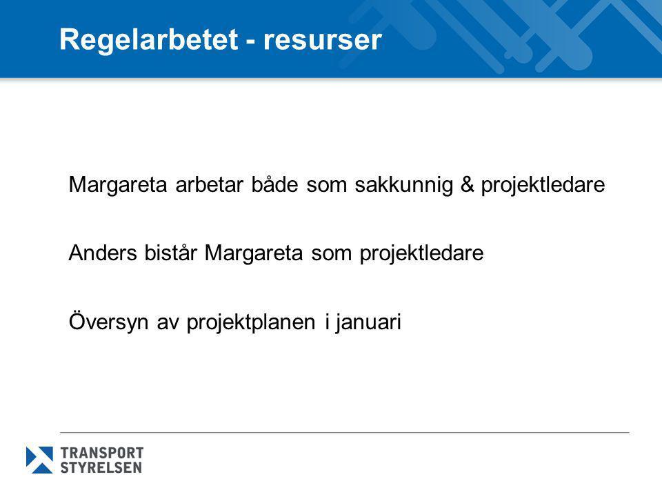 Regelarbetet - resurser Margareta arbetar både som sakkunnig & projektledare Anders bistår Margareta som projektledare Översyn av projektplanen i janu