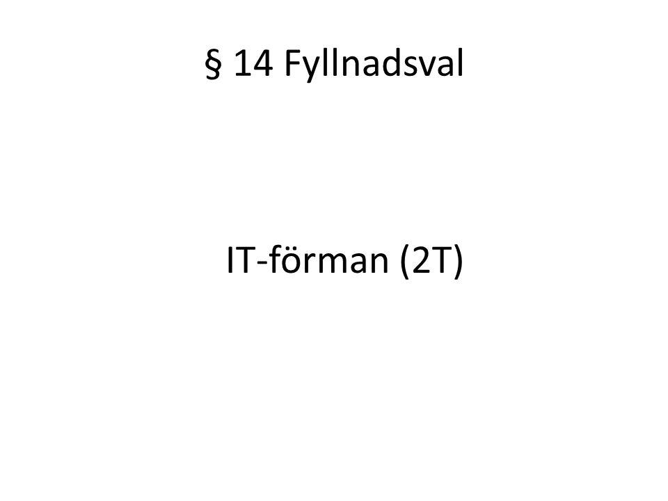 § 14 Fyllnadsval IT-förman (2T)
