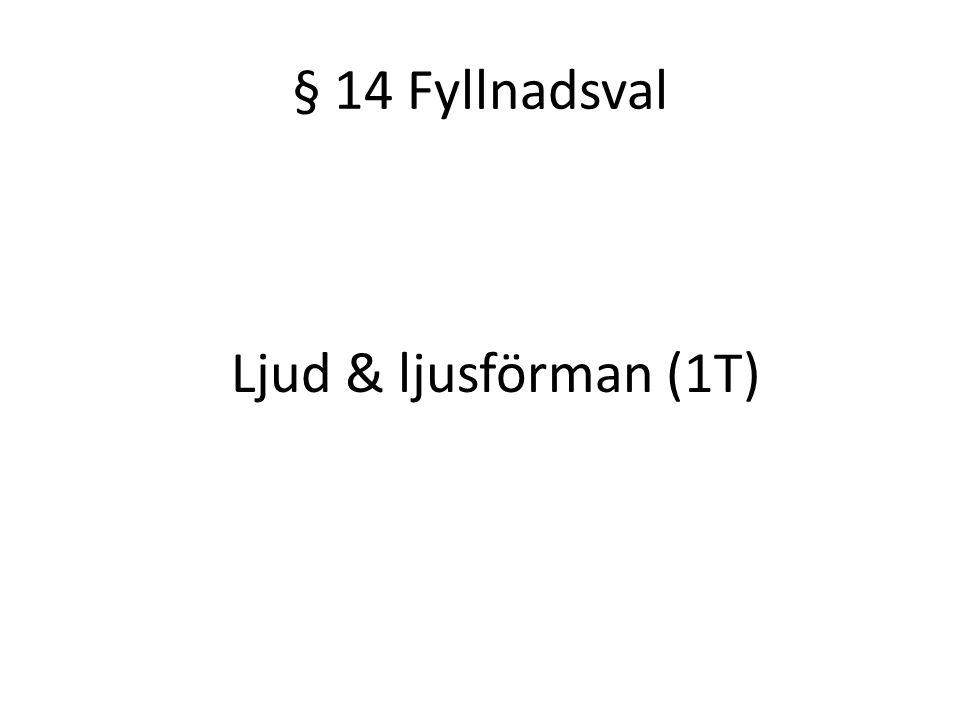 § 14 Fyllnadsval Ljud & ljusförman (1T)
