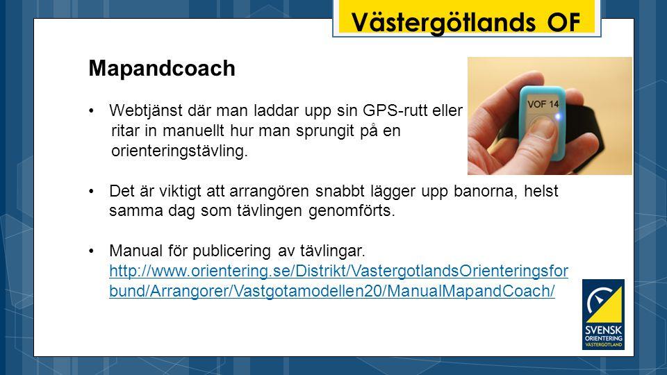 Västergötlands OF Webtjänst där man laddar upp sin GPS-rutt eller ritar in manuellt hur man sprungit på en orienteringstävling.