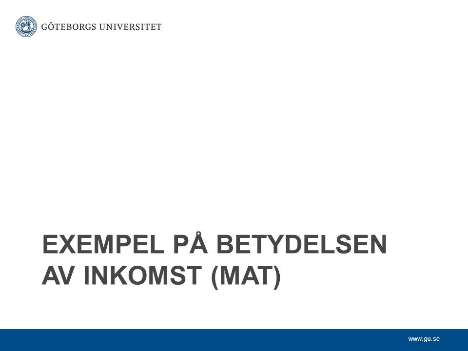 www.gu.se EXEMPEL PÅ BETYDELSEN AV INKOMST (MAT)