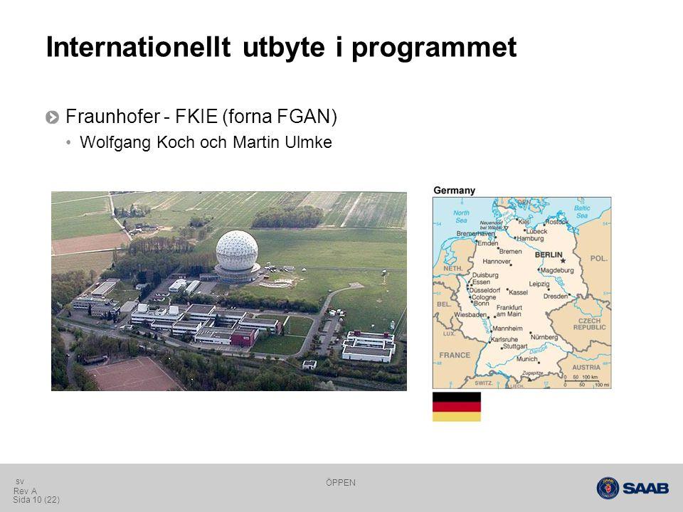 ÖPPEN Sida 10 (22) Rev A sv Internationellt utbyte i programmet Fraunhofer - FKIE (forna FGAN) Wolfgang Koch och Martin Ulmke