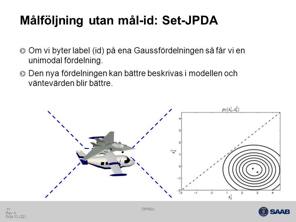 ÖPPEN Sida 13 (22) Rev A sv Målföljning utan mål-id: Set-JPDA Om vi byter label (id) på ena Gaussfördelningen så får vi en unimodal fördelning.