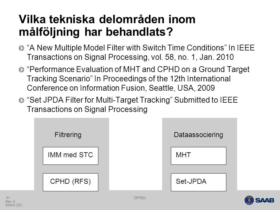 ÖPPEN Sida 19 (22) Rev A sv Resultat för upplösningsmodell Utan upplösningsmodell Med upplösningsmodell Upplösta mål MOSPA [m] y position [m] time [m] x position [m]