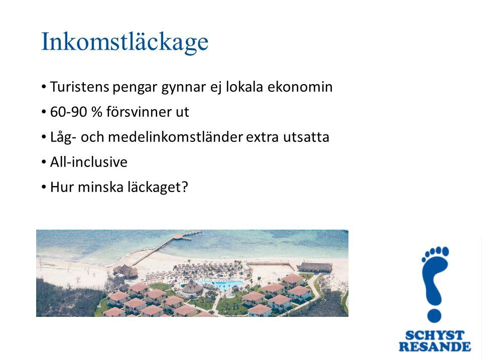 Turistens pengar gynnar ej lokala ekonomin 60-90 % försvinner ut Låg- och medelinkomstländer extra utsatta All-inclusive Hur minska läckaget? Inkomstl
