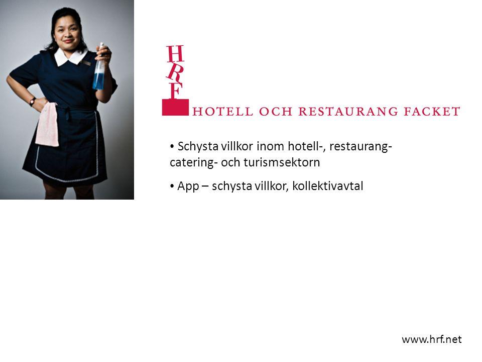 Schysta villkor inom hotell-, restaurang- catering- och turismsektorn App – schysta villkor, kollektivavtal www.hrf.net