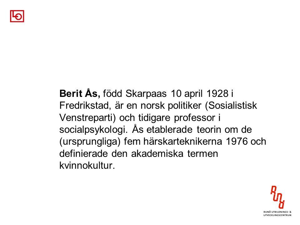 Berit Ås, född Skarpaas 10 april 1928 i Fredrikstad, är en norsk politiker (Sosialistisk Venstreparti) och tidigare professor i socialpsykologi. Ås et