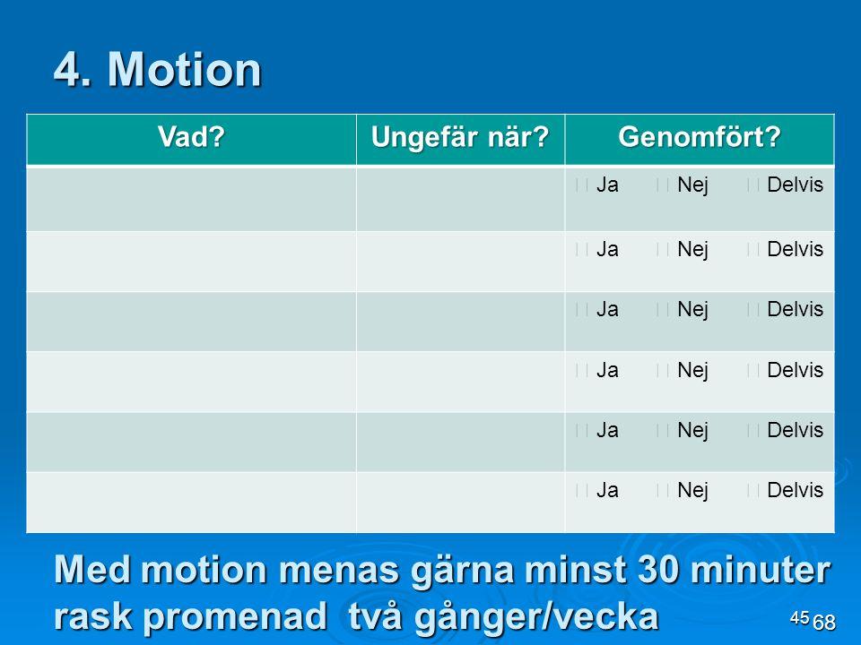 45 Med motion menas gärna minst 30 minuter rask promenad två gånger/vecka 4. Motion Vad? Ungefär när? Genomfört?  Ja  Nej  Delvis 68