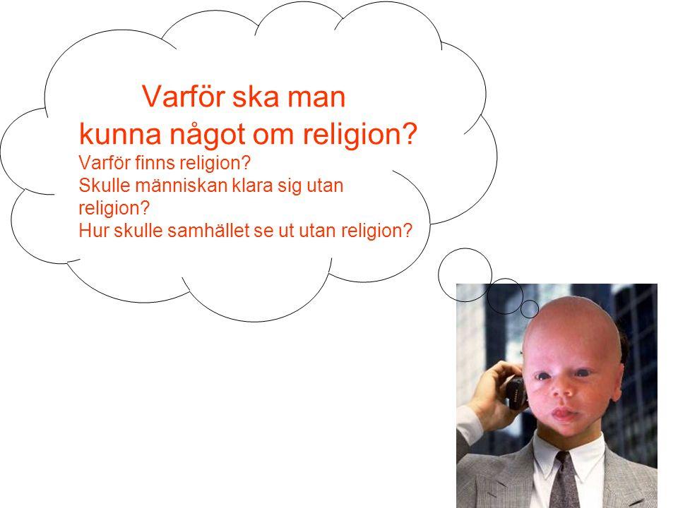 Varför ska man kunna något om religion? Varför finns religion? Skulle människan klara sig utan religion? Hur skulle samhället se ut utan religion?