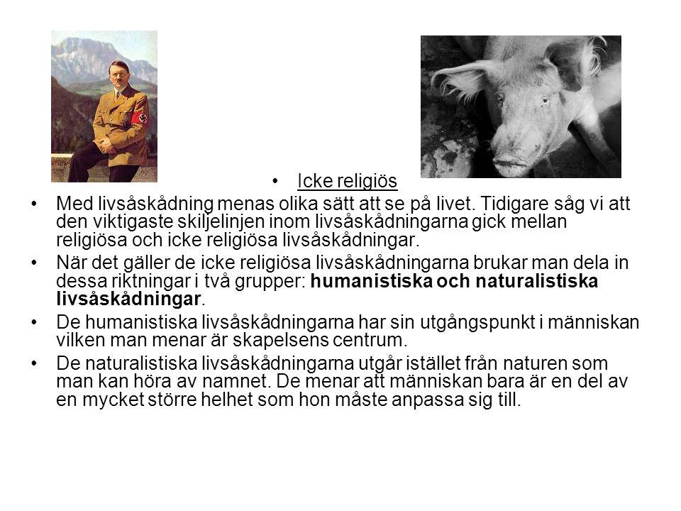 Icke religiös Med livsåskådning menas olika sätt att se på livet. Tidigare såg vi att den viktigaste skiljelinjen inom livsåskådningarna gick mellan r