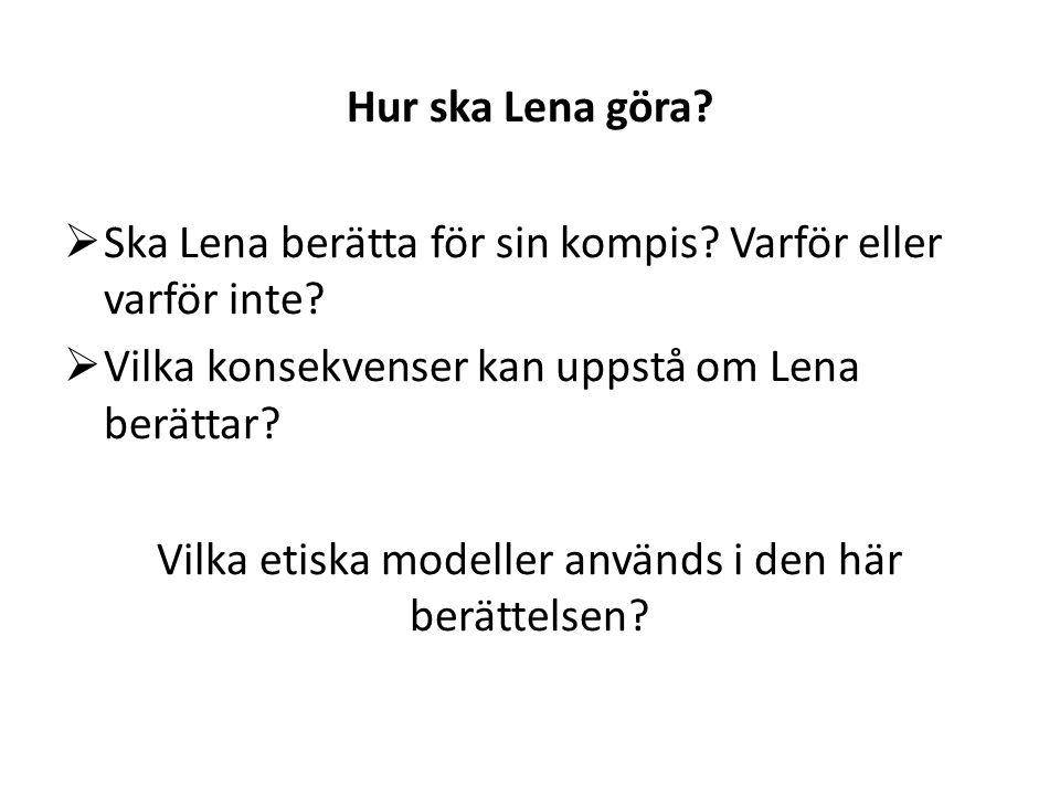 Hur ska Lena göra?  Ska Lena berätta för sin kompis? Varför eller varför inte?  Vilka konsekvenser kan uppstå om Lena berättar? Vilka etiska modelle