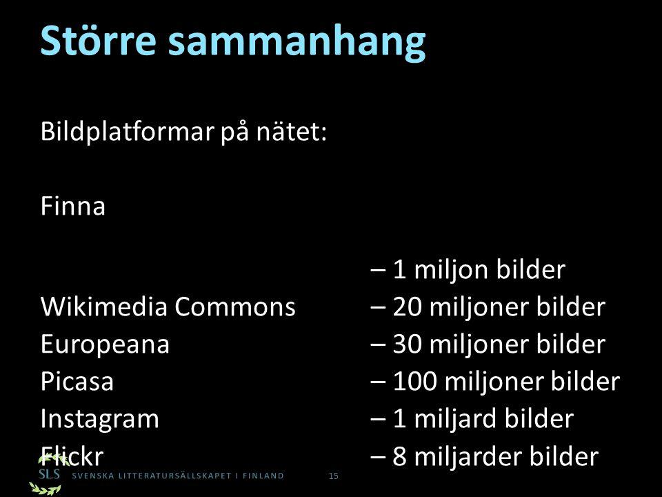 Större sammanhang 15 Bildplatformar på nätet: Finna – 1 miljon bilder Wikimedia Commons – 20 miljoner bilder Europeana – 30 miljoner bilder Picasa – 1