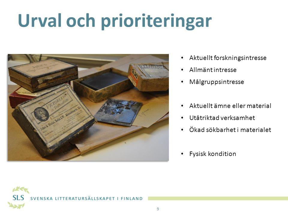 Urval och prioriteringar Aktuellt forskningsintresse Allmänt intresse Målgruppsintresse Aktuellt ämne eller material Utåtriktad verksamhet Ökad sökbar