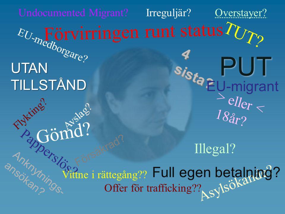 Flykting? Papperslös? Förvirringen runt status Illegal? TUT? Avslag? Vittne i rättegång?? Offer för trafficking?? EU-medborgare? > eller < 18år? Undoc