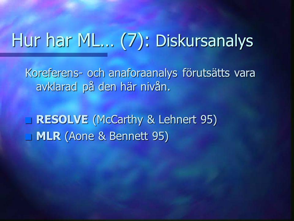 Hur har ML… (6): Automatisk deduktion av mallar Inlärning utan förlaga av de mallar systemet ska fylla i, dvs.