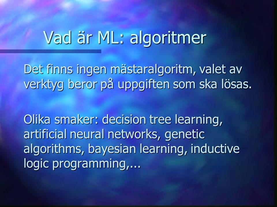 Vad är ML: användningsområden Har använts för bl.a.