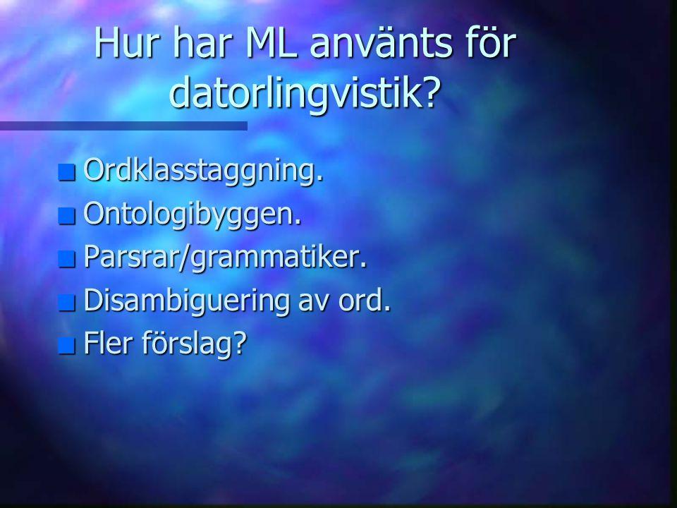 Hur har ML använts för datorlingvistik.n Ordklasstaggning.