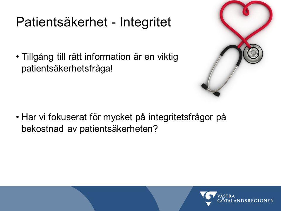 Patientsäkerhet - Integritet Tillgång till rätt information är en viktig patientsäkerhetsfråga! Har vi fokuserat för mycket på integritetsfrågor på be