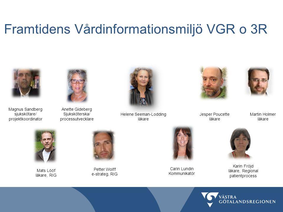 Framtidens Vårdinformationsmiljö VGR o 3R Martin Holmer läkare Jesper Poucette läkare Helene Seeman-Lodding läkare Magnus Sandberg sjukskötare/ projek