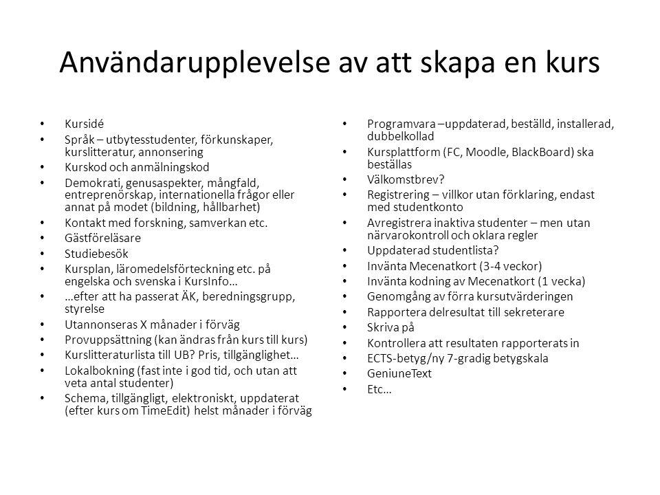 Användarupplevelse av att skapa en kurs Kursidé Språk – utbytesstudenter, förkunskaper, kurslitteratur, annonsering Kurskod och anmälningskod Demokrat