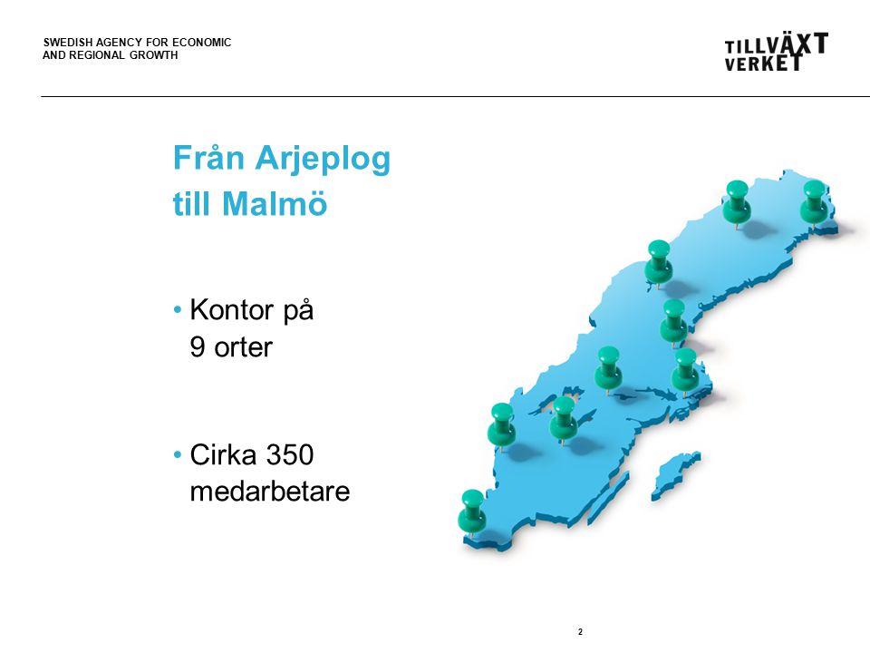 SWEDISH AGENCY FOR ECONOMIC AND REGIONAL GROWTH 3 Vi gör det lättare att lyckas som företagare