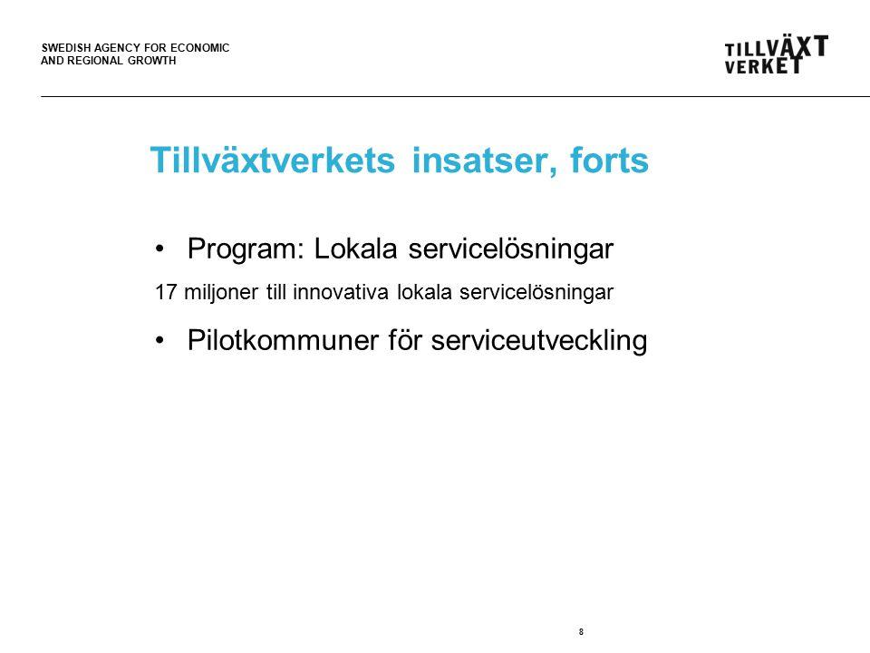 SWEDISH AGENCY FOR ECONOMIC AND REGIONAL GROWTH 8 Tillväxtverkets insatser, forts Program: Lokala servicelösningar 17 miljoner till innovativa lokala servicelösningar Pilotkommuner för serviceutveckling