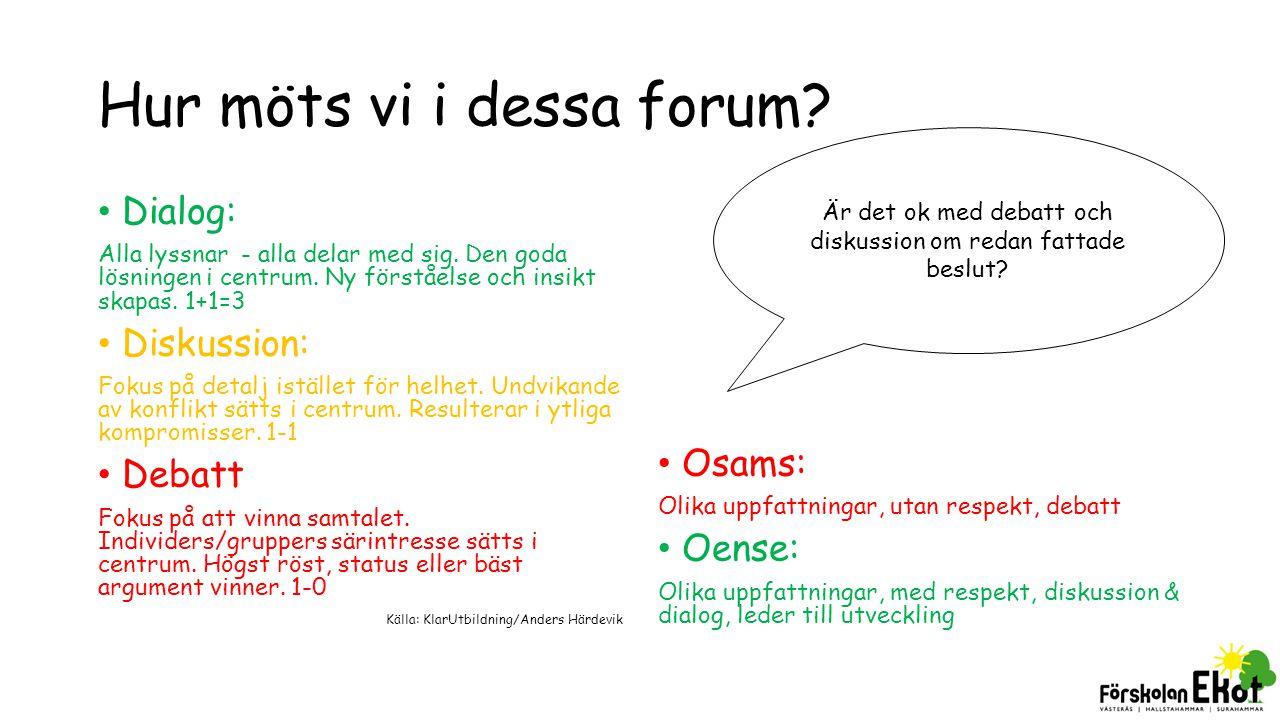 Hur möts vi i dessa forum? Dialog: Alla lyssnar - alla delar med sig. Den goda lösningen i centrum. Ny förståelse och insikt skapas. 1+1=3 Diskussion: