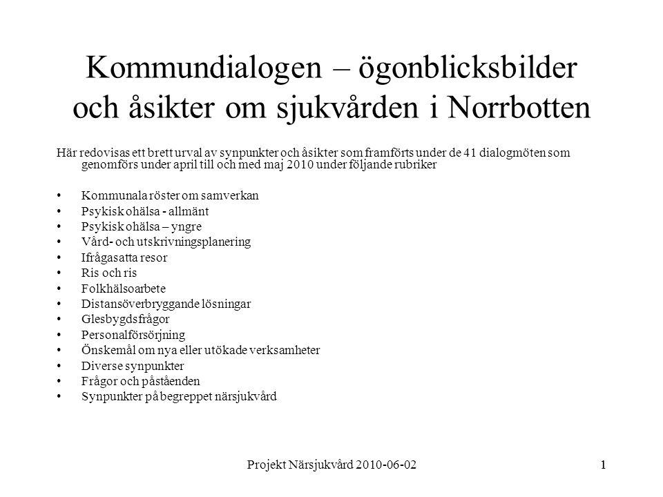 Projekt Närsjukvård 2010-06-0211 Kommundialogen – ögonblicksbilder och åsikter om sjukvården i Norrbotten Här redovisas ett brett urval av synpunkter och åsikter som framförts under de 41 dialogmöten som genomförs under april till och med maj 2010 under följande rubriker Kommunala röster om samverkan Psykisk ohälsa - allmänt Psykisk ohälsa – yngre Vård- och utskrivningsplanering Ifrågasatta resor Ris och ris Folkhälsoarbete Distansöverbryggande lösningar Glesbygdsfrågor Personalförsörjning Önskemål om nya eller utökade verksamheter Diverse synpunkter Frågor och påståenden Synpunkter på begreppet närsjukvård
