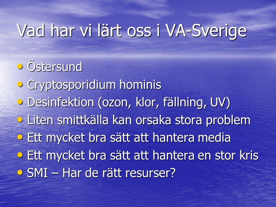 Vad har vi lärt oss i VA-Sverige Östersund Östersund Cryptosporidium hominis Cryptosporidium hominis Desinfektion (ozon, klor, fällning, UV) Desinfektion (ozon, klor, fällning, UV) Liten smittkälla kan orsaka stora problem Liten smittkälla kan orsaka stora problem Ett mycket bra sätt att hantera media Ett mycket bra sätt att hantera media Ett mycket bra sätt att hantera en stor kris Ett mycket bra sätt att hantera en stor kris SMI – Har de rätt resurser.