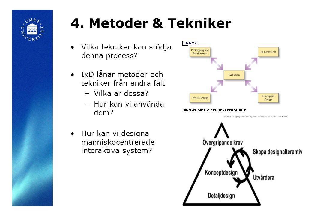 4.Metoder & Tekniker Vilka tekniker kan stödja denna process.
