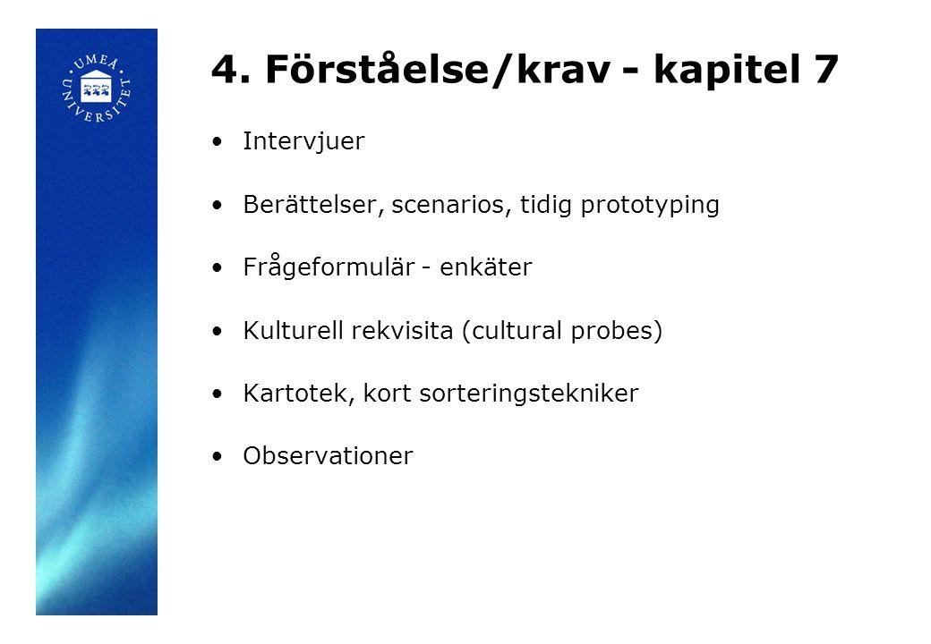 4. Förståelse/krav - kapitel 7 Intervjuer Berättelser, scenarios, tidig prototyping Frågeformulär - enkäter Kulturell rekvisita (cultural probes) Kart
