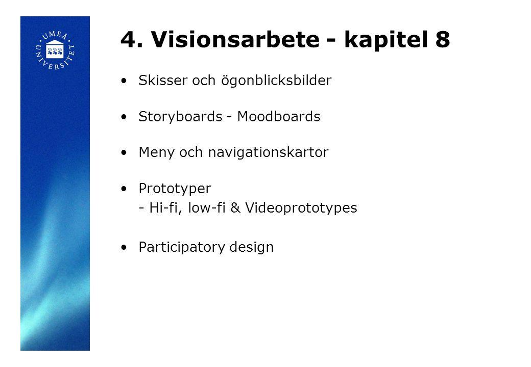 4. Visionsarbete - kapitel 8 Skisser och ögonblicksbilder Storyboards - Moodboards Meny och navigationskartor Prototyper - Hi-fi, low-fi & Videoprotot