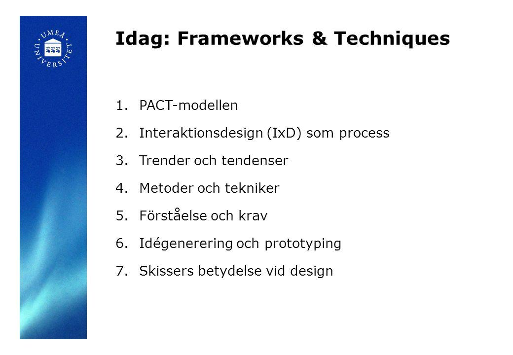 Idag: Frameworks & Techniques 1.PACT-modellen 2.Interaktionsdesign (IxD) som process 3.Trender och tendenser 4.Metoder och tekniker 5.Förståelse och krav 6.Idégenerering och prototyping 7.Skissers betydelse vid design