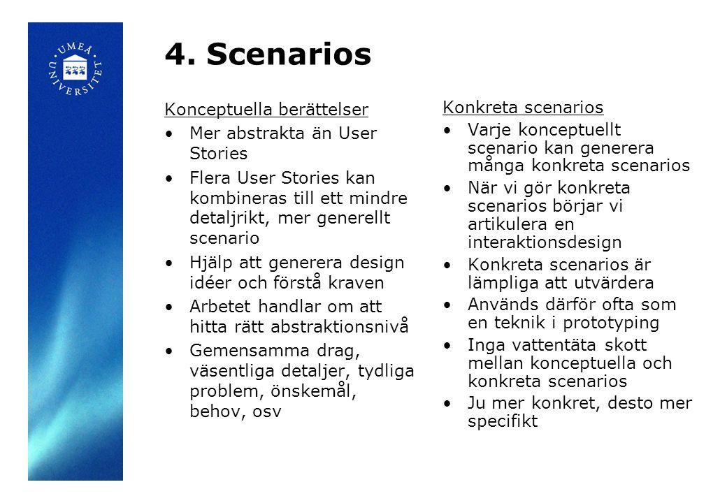 4. Scenarios Konceptuella berättelser Mer abstrakta än User Stories Flera User Stories kan kombineras till ett mindre detaljrikt, mer generellt scenar