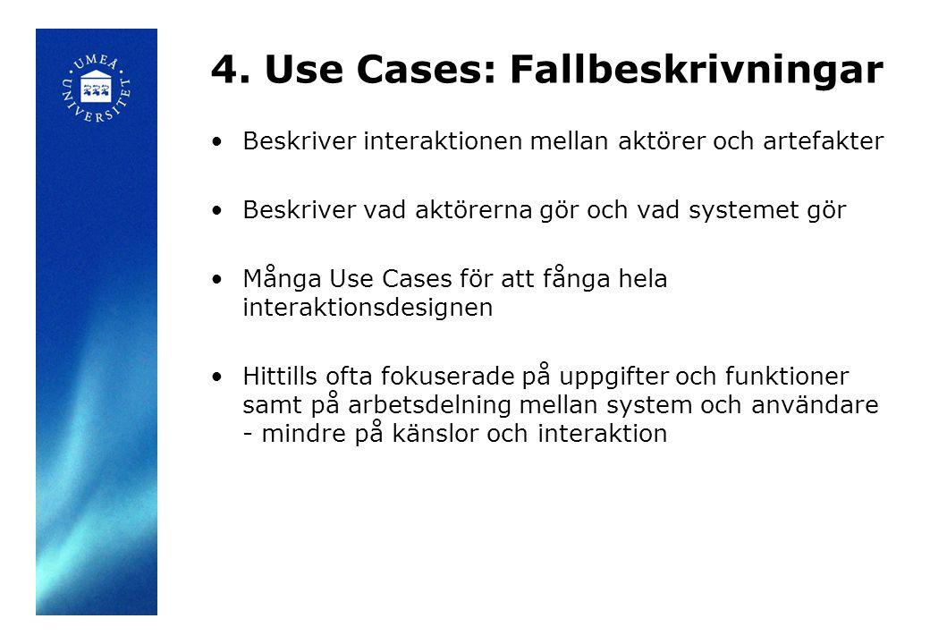 4. Use Cases: Fallbeskrivningar Beskriver interaktionen mellan aktörer och artefakter Beskriver vad aktörerna gör och vad systemet gör Många Use Cases