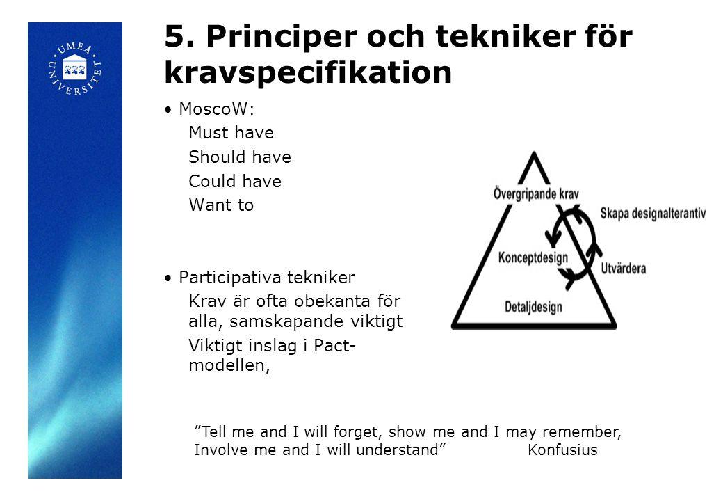 5. Principer och tekniker för kravspecifikation MoscoW: Must have Should have Could have Want to Participativa tekniker Krav är ofta obekanta för alla