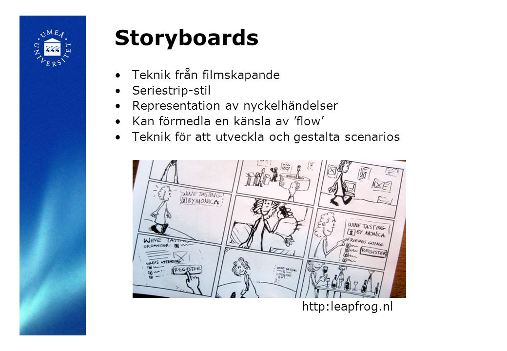 Storyboards Teknik från filmskapande Seriestrip-stil Representation av nyckelhändelser Kan förmedla en känsla av 'flow' Teknik för att utveckla och gestalta scenarios http:leapfrog.nl